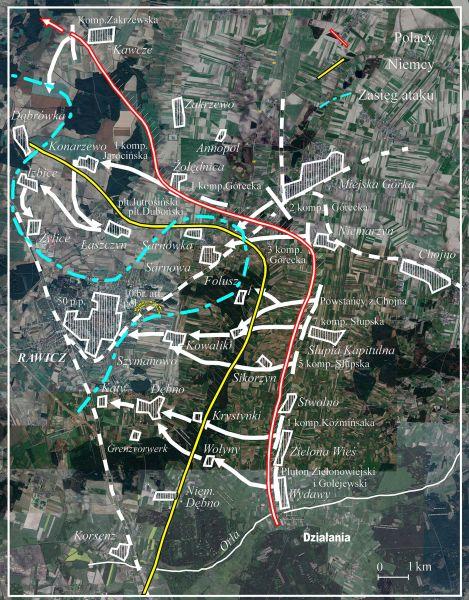 Zasięg operacji zbrojnej podczas bitwy o Rawicz z 3 na 4 lutego