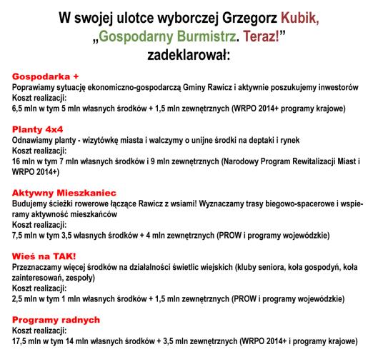 Zobowiązania z ulotki wyborczej G. Kubika