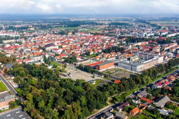 Widok na centrum Rawicza od południowego-wschodu
