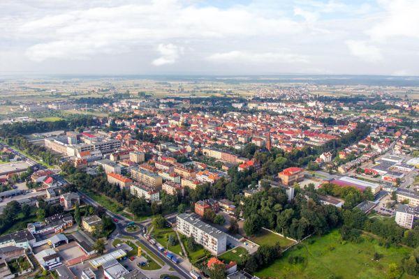 Widok na centrum Rawicza od północnego-wschodu